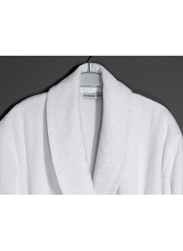 Madame Coco Kerman Şalyaka Lurexli Kadın Bornoz Seti Beyaz
